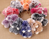 Wholesale Two Ring Pendant - New Two Colors Rabbit Keychain Halloween Plush Bunny 100% Rex Fur 18cm Key Chain Pendants for Keys Bag Car Rings Accessories Jewelry Gifts