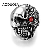 Wholesale Ruby Skull Ring - The Individualized Punk Style Retro Ring Men's Unique Fashionable Vintage 316L Stainless Steel Red Eye Skull Antique Jewelry Rings