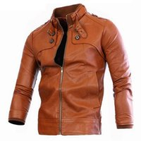 Wholesale Cheap Leather Sleeves - autumn Winter men bomber jackets zipper Faux Leather mens male casual Motorcycle Cheap jacket brown pocket coat