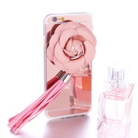 Wholesale Iphone Rhinestone Charms - Modern Charm Transparent TPU Case with leather rose flower cover 3D Elegant rose tassels Pendant Cover for Iphone6 6s 6 plus