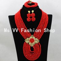 Wholesale Costume Jewellery Bracelets Crystal - Jewelry Sets nigerian gold costume Nigerian Wedding Beads Fashion bridal necklace set crystal bead jewellery set