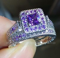 Wholesale Amethyst White Gold Engagement Ring - Wholesale - Size 5-10 Vintage Jewelry Princess cut Amethyst Simulated Diamond CZ Wedding Gemstones Engagement Bridal Rings set for Women lov