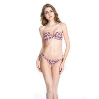 Wholesale Diamond Bandeau Bikini - Newest Swimwear Geometric Print Micro Bikini Swimsuit Red Diamond Ladies Beachwear Pattern V Wire Strapless Bandeau Bikini Swimwear