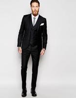 Wholesale Tailored Made Dress Pants - Wholesale-2017 Tailored Made High Quality Groom Tuxedos Black Peak Lapel Two Buttons Suits Men Wedding Dress Suit Sets(Jacket+Pants+Vest)