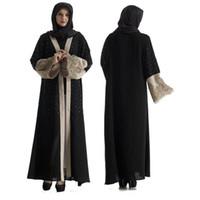 siyah kemer nakışı toptan satış-Toptan Müslüman Kadınlar Beadinbg Siyah Abaya Elbise Kemer ile Artı Boyutu İslam Kadınlar Nakış Jilbab Abaya