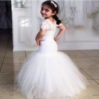 Wholesale White Fur Short Vest Kids - 2016 New Arrival Mermaid Flower Girl Dresses Cap Sleeves Floor-Length Lace Wedding Girl Dress Short Sleeves Kids Pageant Dresses