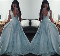 Wholesale saudi sexy girls - Light Blue Black Girl Prom Dresses 2016 Deep V Neck A Line Evening Gowns Lace Applique Sequined Saudi Arabia Formal Party Dresses