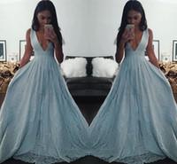 ingrosso luci del partito nero-Light Blue Black Girl Prom Dresses 2016 scollo av profondo una linea abiti da sera Applique di pizzo paillettes abiti da festa formale dell'Arabia Saudita