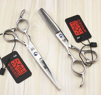Wholesale Hair Scissors Left - 723# 5.5'' Left-Hander Kasho TOP GRADE Hairdressing Scissors JP 440C Barbers Cutting Scissors Thinning Shears Hair Scissors