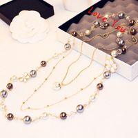 blusas de las mujeres coreanas al por mayor-Diseñador de lujo de Corea del collar de múltiples capas colgante collar de cadena perla para las mujeres suéter blusa joyería de traje