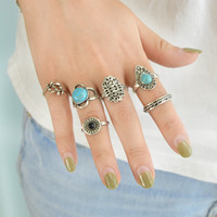 Wholesale Water Stone Color - 6 Pcs Set Bohemia Ethnic Antique Silver Color Green Stone With Leaf Round Hollow Water Drop Rings Set For Women