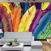 Wholesale Quality Poster Printing - Colorful Feather Murals 3D Giant Wallpaper Green Silk Wall Decals Stickers Home Decor for Sofa Bar Background Poster High Quality
