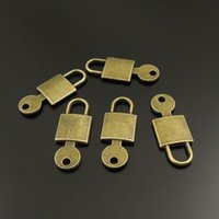 10PCS / Pendentif en alliage Lot Antique Bronze Key Lock Charms Bijoux Trouver 25 * 9 * AU38153 1mm fabrication de bijoux