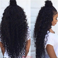 Wholesale human hair kinky curl wigs for sale - Group buy Glueless Full Lace Wigs Malaysian Hair kinky curl Lace Front Wig Bleached Knots Full Lace Human Hair Wigs For Black Women