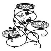 Metal outdoor plant shelf - 3 Tier Flower Pot Holder Garden Planter Metal Plant Stands Shelf Indoor Outdoor