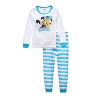 Wholesale Micky Mouse Clothes - Boys Pajamas With Printed Micky Mouse Child Longe Sleeve Cartoon Clothes 2 Set Autumn Winter 2 Pieces Sleepwear Home Clothing For Chrildren
