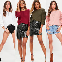 Wholesale Long Slimming Blouses - 2017092823 Patchwork Ruffles Women Blouse Tops Shirts Autumn 2017 Fashion Long Sleeve Female Solid Office Casual Slim Top Tee Blusas