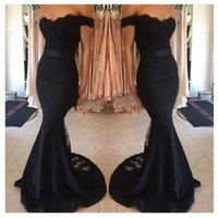 Wholesale junior dress white halter lace resale online - Elegant Black Mermaid Evening Dress Wear Cap Sleeves Lace Train Prom Formal Prom Party Dresses Cheap Junior Maid Of Honor Gowns