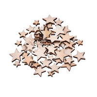 Wholesale Assorted Wood - Wholesale- Hot Selling 100Pcs Assorted Size Natural Wood Star Plain Shabby Chic Craft Scrapbook