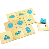 Wholesale Montessori Materials Wood Blue Geometry Board Baby Sensory Toys Kids Educational Early Learning Wooden Toys