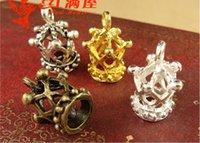 Wholesale Antique Bronze Charms Crown - A3948 13*18MM Antique Bronze Retro birdcage manual DIY crown CHARMS jewelry wholesale, gold pendants lot, golden tibetan silver charm