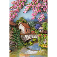 Wholesale House Free Cross Stitch - DIY Diamond Painting River Flowers&house 5D Diamond Mosaic Cross Stitch Embroidery Handmade Home Wall Decoration Gift (Free Shipping)