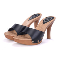 Wholesale Rubber Wood Grain - Luxury Women Summer Rivets Wood Grain Sexy Cool Slippers Waterproof High Heel Sandals 34-39