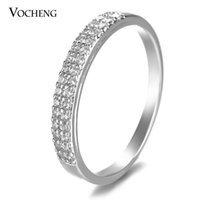 Wholesale Cz Platinum - VOCHENG Wedding Ring 2 Sizes Gold Platinum Plated Filled CZ Stone Brass Metal Fashion Jewelry VR-145