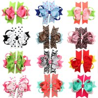 Wholesale Hair Dot Bows - 12 STYLE AVAILABLE Baby Bowknot Hair Clips Girls Cheetah Barrettes Polka Dots Hair Bows With Clip Kids Hair Accessories Drop Shipping