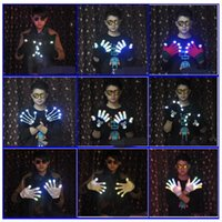 Wholesale Rave Halloween Costumes - LED Skeleton Shuffle Gloves Light Up Shows Light Up Knit Gloves LED Show Gloves for Party Rave Halloween Costume Glove CCA7449 50pairs