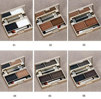 Wholesale Brow Cake Powder - Clever cat Eyebrow Cake Pwoder Brow Powder Makeup Eyebrow Shadow 2 Color Mix Natural Eyebrow With Brush And Mirror 6 Colors