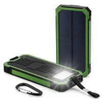 Wholesale Green Mp5 - Hot selling full 8000mAh Green color Solar power bank for Cell phone Laptop Camera MP4 With Flashlight waterproof shockproof