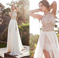 Wholesale beach evening wear - Lace Sexy Backless Beach Prom Dresses Beading Waist Floor Length Split Evening Gowns Special Occasion Wear Cheap