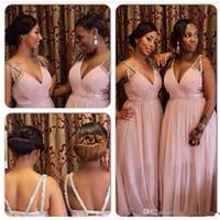 formale brautjungfer kleider kristalle großhandel-Günstige Blush Deep V Neck Afrikanische Brautjungfernkleider Lange Plus Size Kristall Chiffon Formale Kleider Criss Cross Straps
