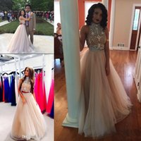 Wholesale Black Nude Prom Dresses - 2016 Sexy Two Pieces black girl Prom Dresses couples fashion High Neck Beaded Top nude Tulle Floor Length Formal Party Dresses Evening Gowns