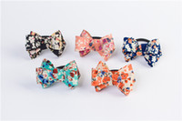 Wholesale Rope For Baby - Girls Hair Accessories Hair Tie Rope Bow Floral Cloth For Children's Baby Girl Hairbands With Bow Shape Elastic Ribbon for Women HA14B