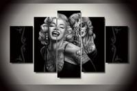 lona de pintura abstrata da cara venda por atacado-Dia da cara morta pintura da arte da parede da lona para decoração de casa pintura figura abstrata de Marilyn Monroe