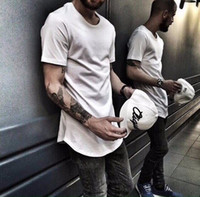 Wholesale Tall White T Shirts - 2016 Mens big and tall Clothing designer citi trends Clothes T shirt homme Curved hem Tee plain white Extended T shirt Korean