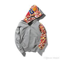 Wholesale Long Coats For Men Sale - Hot Sale Men's Camo Splice Shark Hoodie Jacket Long Sleeve Camo Casual Hoodies Winter Sweatshirts Coat For Men Grey Black Size M-2XL