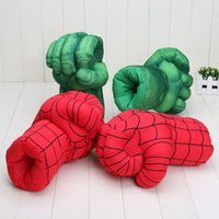 Wholesale Incredible Hulk Comics - Spider Man Gloves 1pair 10'' Incredible Hulk Smash Hands or Spider Man Plush Gloves Performing Props plush Toys