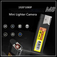 Wholesale Usb Hd Pinhole Camera - New M8 Mini HD-DVR Lighter Pinhole Cameras 1920*1080P Spy Hidden camera USB Mini DV Lighter DVR Camera Video Recorder Cam Camcorder Black