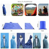 Wholesale Rain Pads - Multifunction Poncho Raincoat Shade Shelter Tent Backpack Rain Cover Camping Moistureproof Picnic Pad 5 Styles LJJO3323