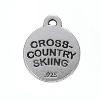 Wholesale Antique Skis - CROSS-COUNTRY SKIING fashion new style antique silver plated charms DIY for jewelry custom making