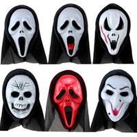 Wholesale scary man halloween costume for sale - Scary Ghost Face Scream Mask Creepy for Halloween Masquerade Party Fancy Dress Costume