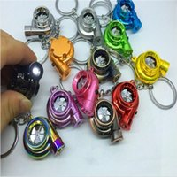 Wholesale Electric Car Solar - Free DHL 13 Colors Electric Torch Spinning Turbo Keychain Children Key Rings Favorite Sleeve Bearing Turbine Keyring F415L
