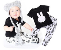 Wholesale Toddlers Wholesale Clothing - 2016 summer new lovely rabbit baby gir boy clothing America 6M 12M 18M 1YEAR 2Y 3Y Toddler clothes short sleeve blackT-shirts PP pants sets