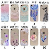 Wholesale Clear Flower Iphone Case - Soft TPU Gel Case For Iphone 7 7Plus 6 6s Plus SE 5 Flower Butterfly Marble Tower Feather Henna Paisley Mandala Dandelion Dreamcatcher Cover