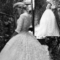 Wholesale Wedding Dresses Crystals Fully - Gorgeous Ball Gown Wedding Dresses 2017 Fully Handmade Flowers Appliques Illusion Half Sleeves Bridal Gowns With Removable Train
