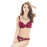 Wholesale Cute Red Bra - Wholesale-2016 New Women Cute Sexy Underwear Deep V Lace Embroidery Bra Sets Plunge Bra + Panty Size 32-36 B
