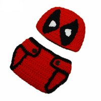 Wholesale Knit Hats Diaper Covers - Super Cool Red Deadpool Outfit,Handmade Knit Baby Boy Girl Cartoon Costume,Crochet Deadpool Beanie Hat and Diaper Cover,Infant Photo Prop